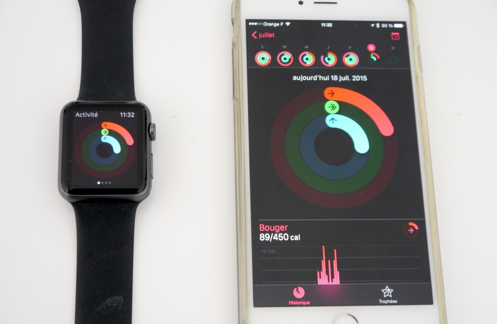 L'application Activité reprend les éléments de votre montre.