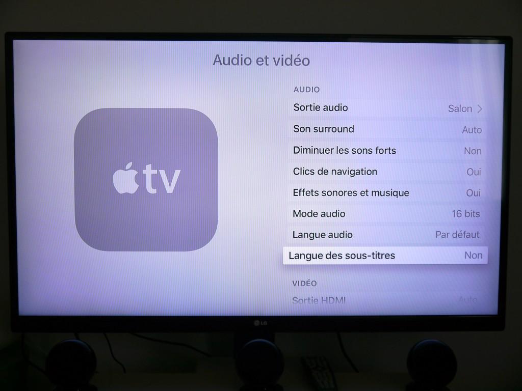 Les paramètres au sein de l'Apple TV sont nombreux, mais clairs