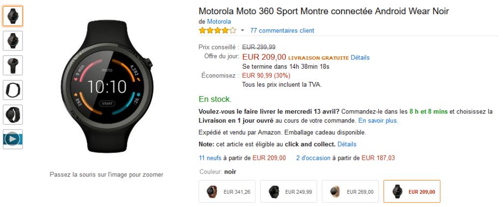 Moto 360 en promo à 209€