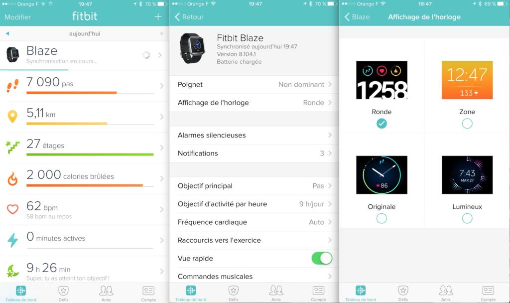 Aperçu de l'application mobile Fitbit