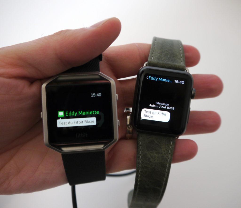Comparatif Fitbit Blaze et Apple Watch
