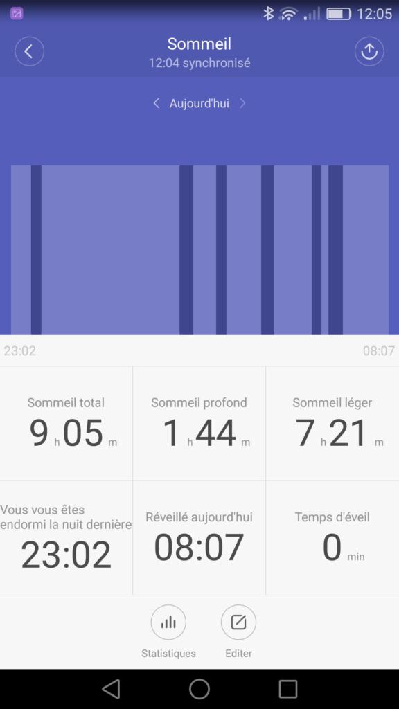 Analyse du sommeil par le bracelet connecté Miband 2