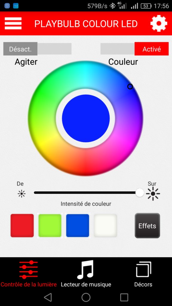 Application android Playbulb Color