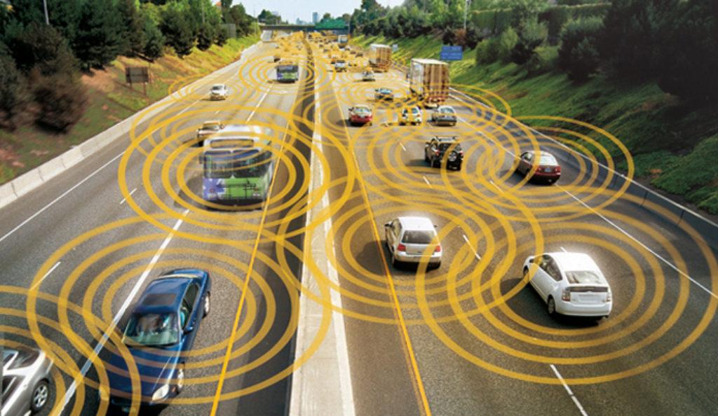 voitures connectées sur une autoroute