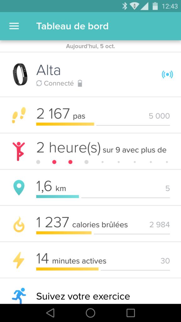 L'application Fitbit possède une interface très simple et complète à la fois.