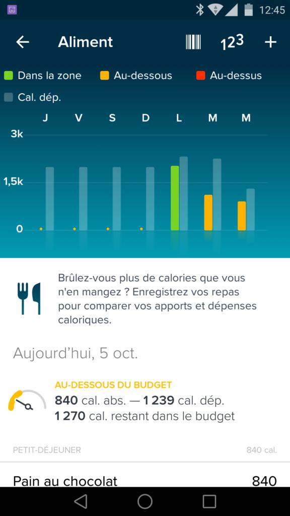 Fitbit peut enregistrer vos repas afin de suivre votre consommation de calories.