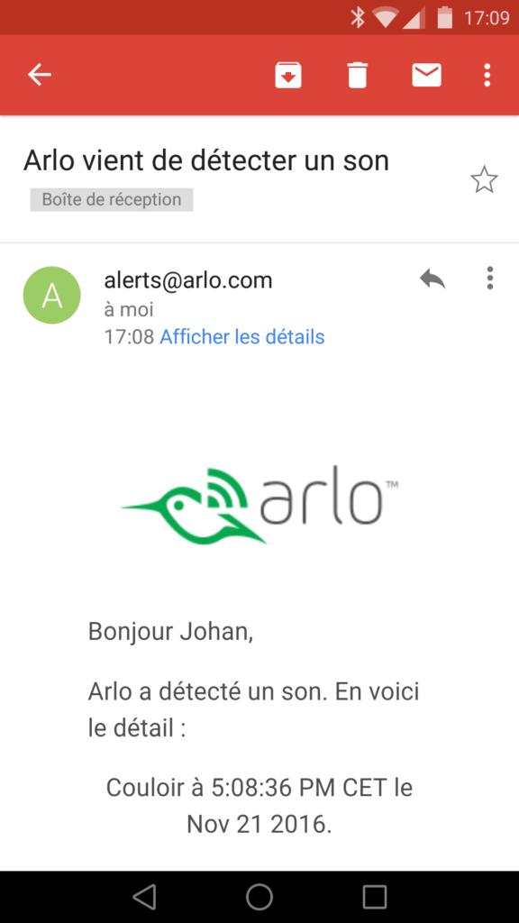 Un mail est envoyé en cas d'alerte en supplément des notifications Push.