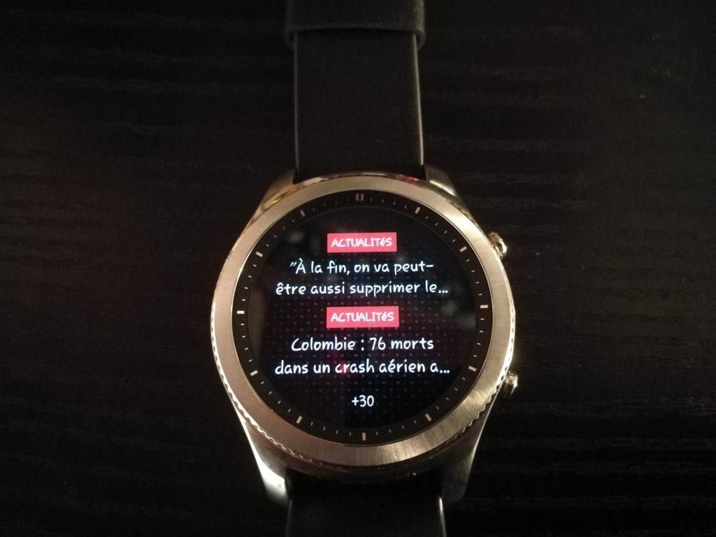 Les widgets sont des écrans qui font un raccourci vers l'application concernée, comme ici les actus.