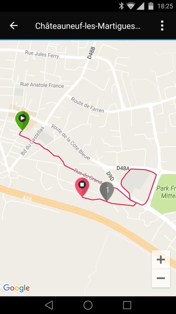 Le GPS permet de reporter le trajet parcouru sur l'application.