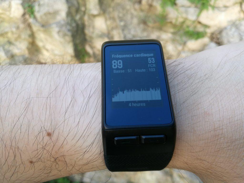 D'autres widgets sont orientés vers les activités physiques, comme ici avec le rythme cardiaque.