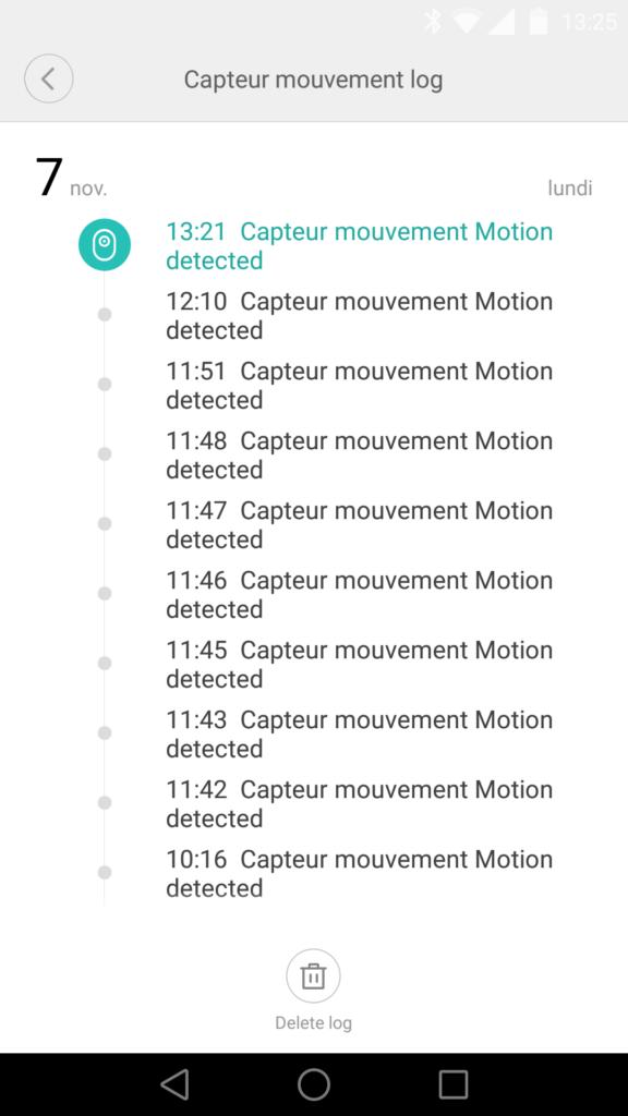 Le journal permet de suivre la chronologie des mouvements détectés.