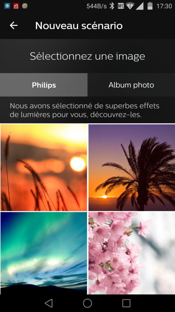 Il est possible de choisir des photos pour créer une couleur adaptée sur la lampe.