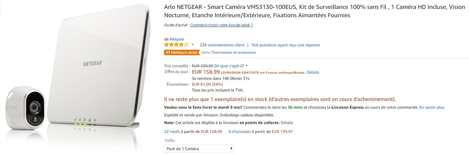 Bon plan caméra Arlo sur Amazon