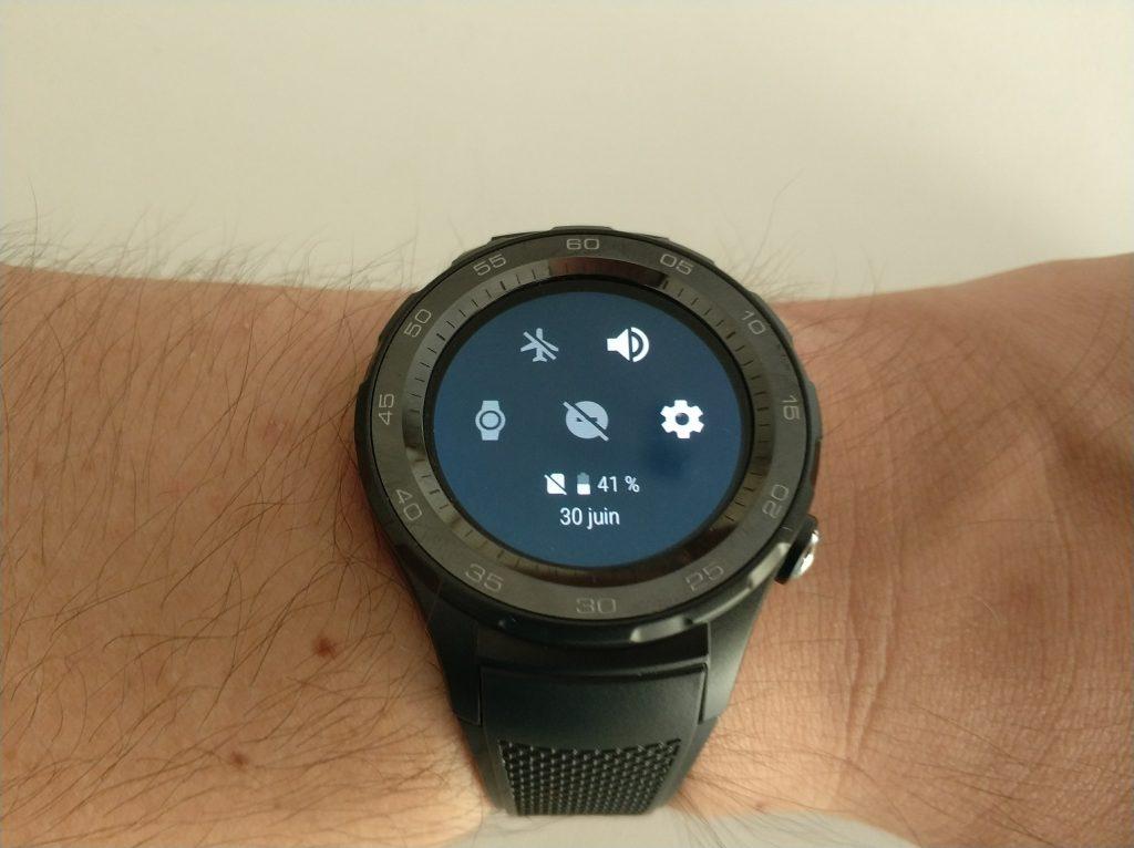 Paramètres rapides smartwatch