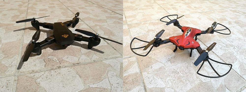 A gauche le drone XS809W et à droite le TK110HW