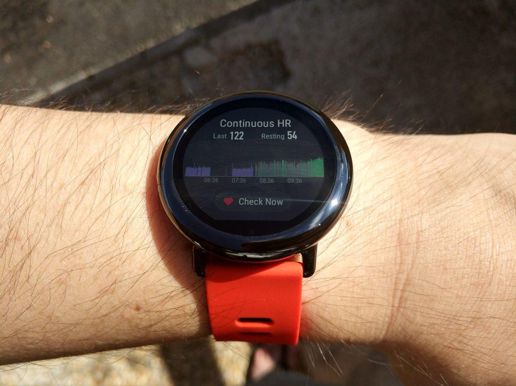 Graphique rythme cardiaque montre connectée Xiaomi