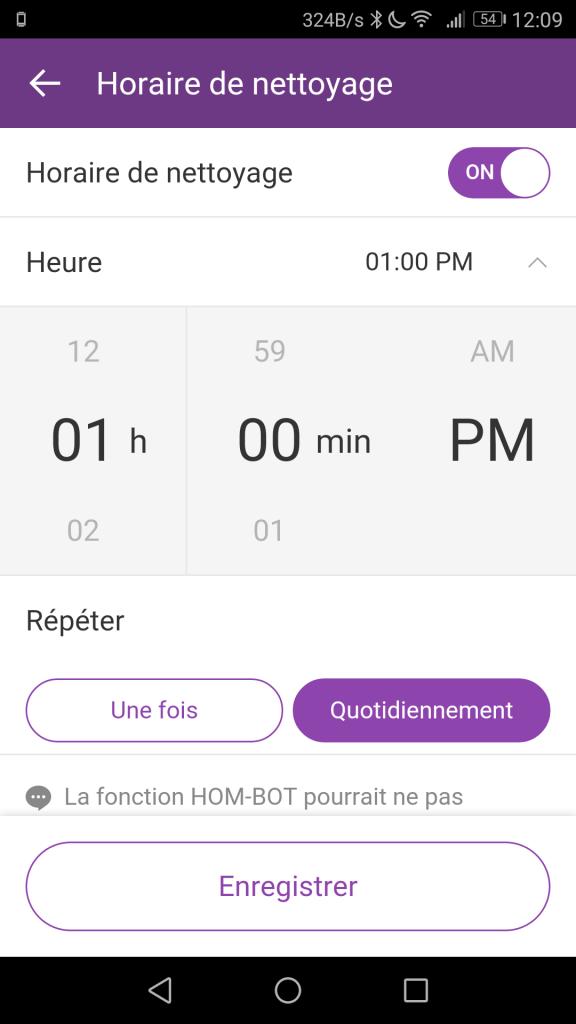 Planning nettoyage LG Hom-Bot