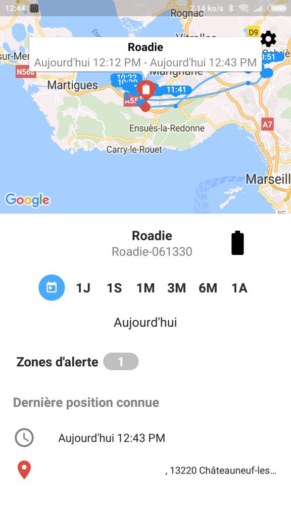 Menu balise Roadie GPS