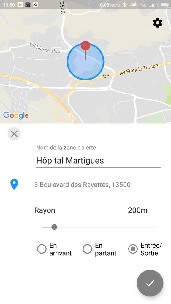 Zone d'alerte GPS Roadie