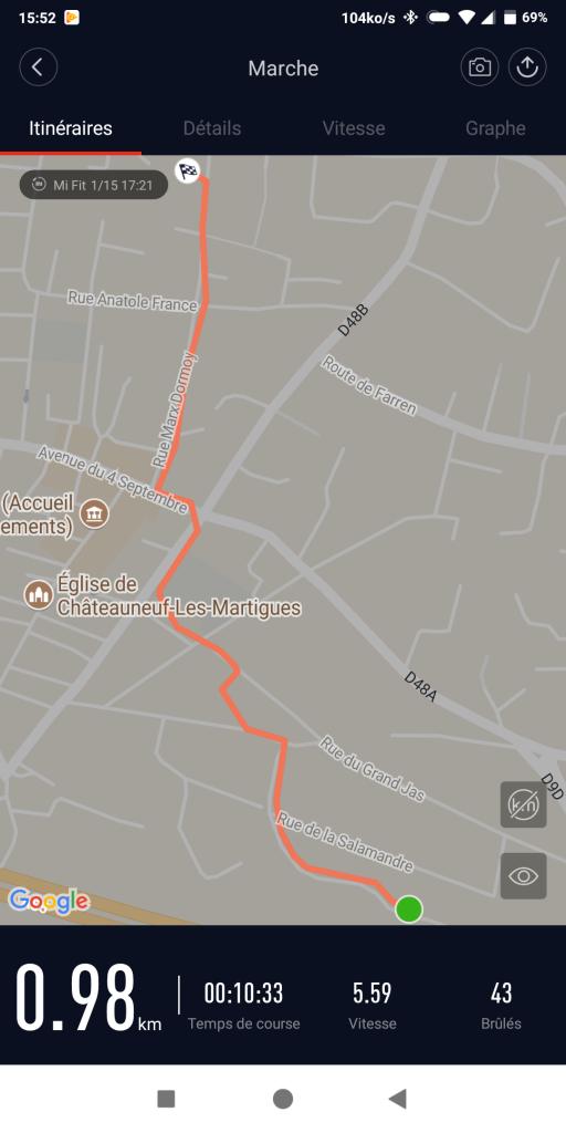 Suivi GPS application Mi Fit