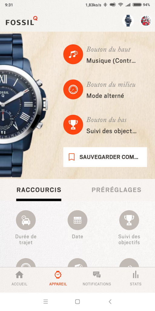 Actions boutons montre Fossil