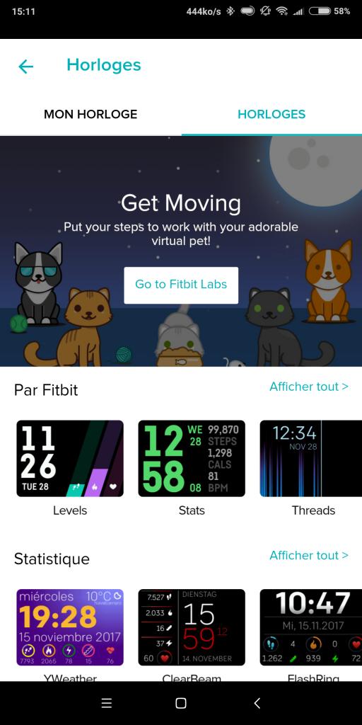 CAdrans montre connectée Fitbit