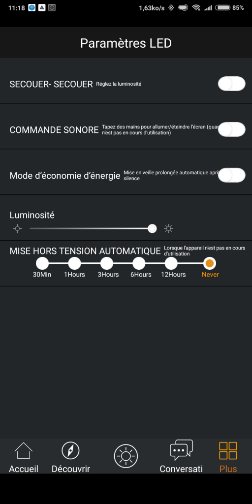 Réglages application Timebox