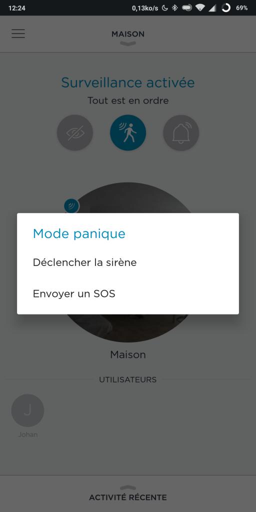 Mode alarme sur caméra Somfy One
