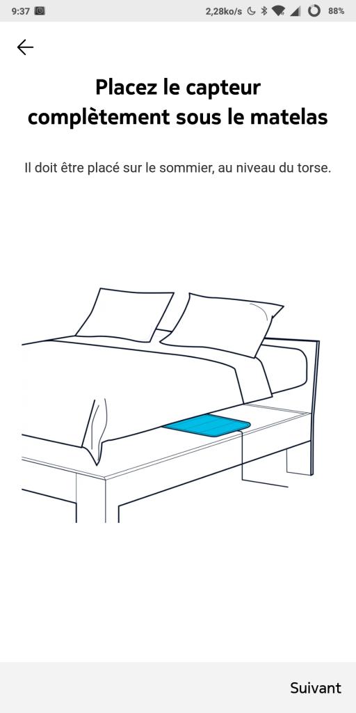 Placement du capteur de sommeil Nokia