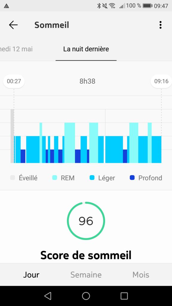 Geaphique nuit capteur sommeil Nokia Sleep