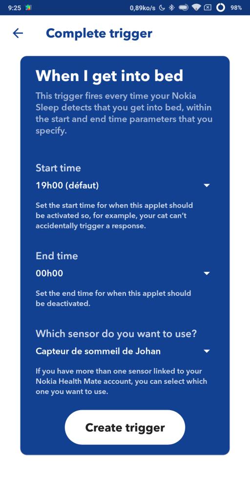 Nokia Sleep compatible IFTTT