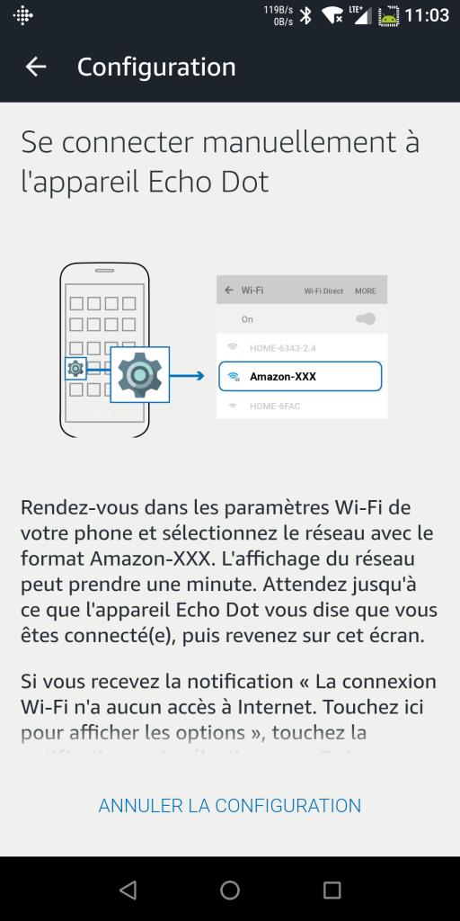 Configuration Echo Dot WiFi