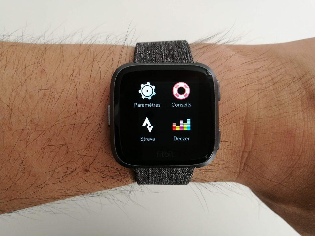 Applications sur montre Versa