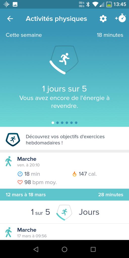Suivi activité Fitbit Versa