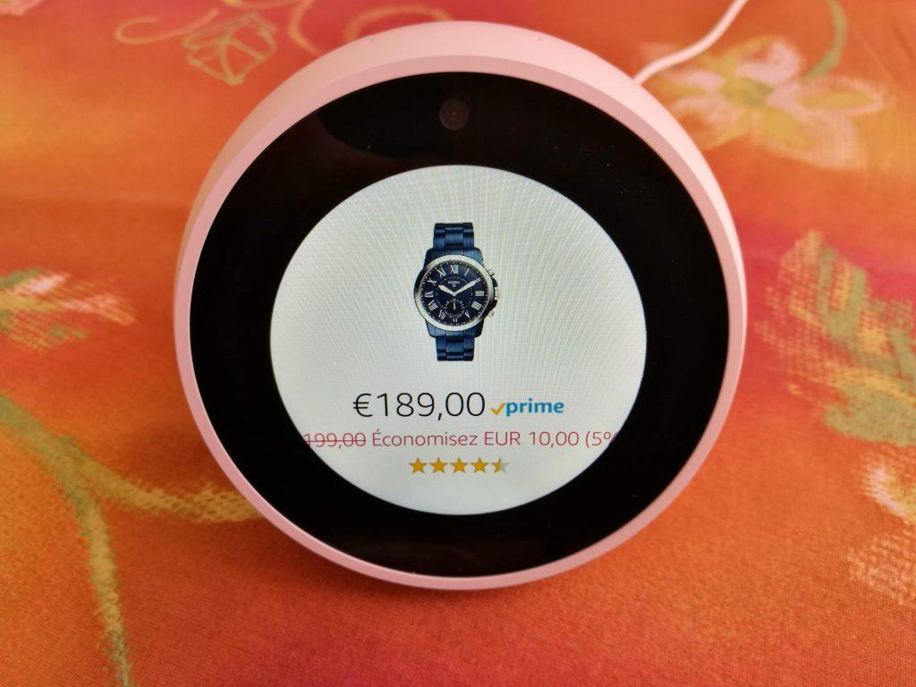 Achat Amazon avec Echo Spot