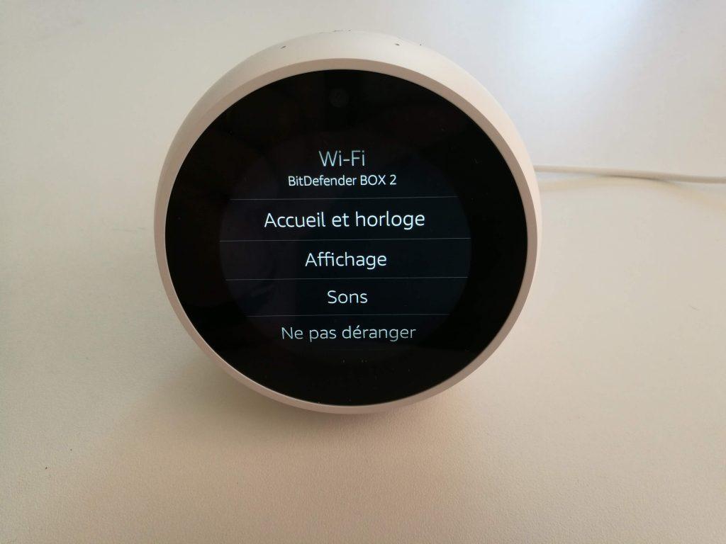 Paramètres Amazon Echo Spot