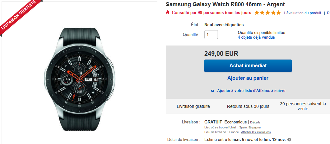 Galaxy Watch en promotion sur ebay