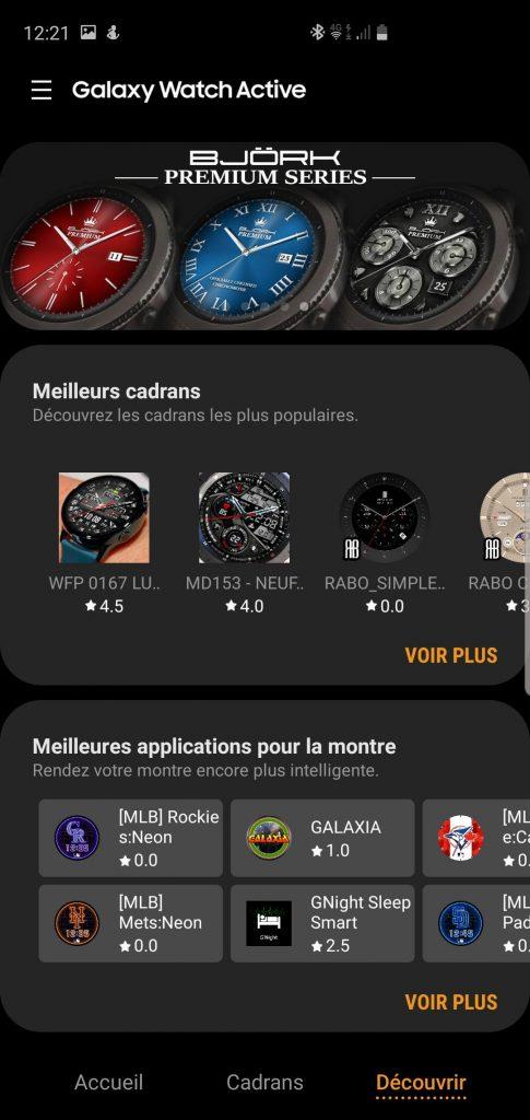 Applications Galaxy Wearable