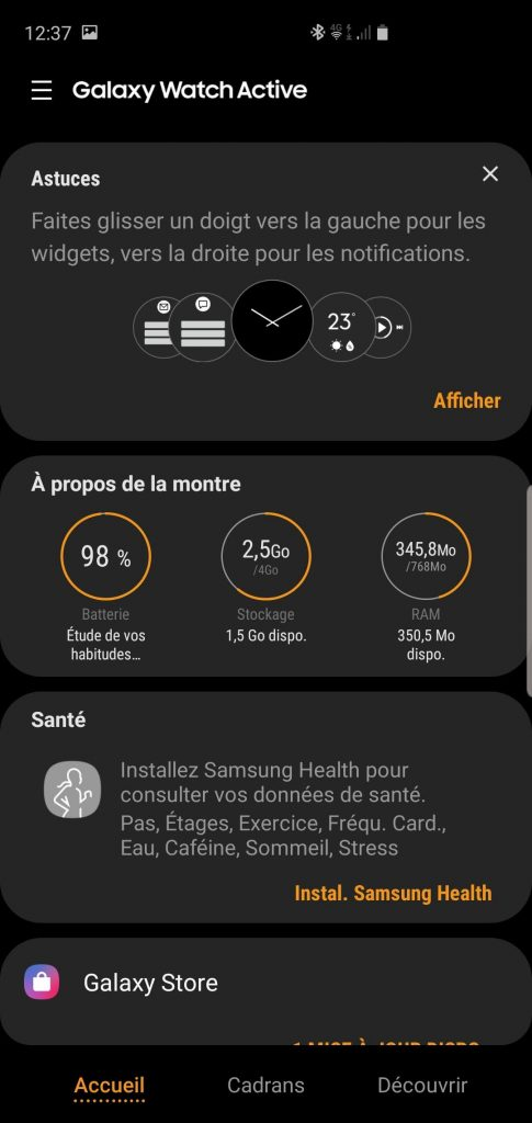 Galaxy Wearable interface application